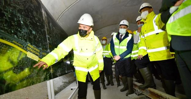 CHP Lideri Kılıçdaroğlu Narlıdere metro hattında yapım çalışmalarını inceledi
