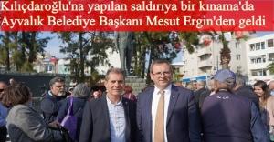 Başkan Ergin, Ayvalık Demokrasi Platformu'nun Kemal Kılıçdaroğlu'na yapılan saldırıyla ilgi yaptığı basın açılmasına katıldı